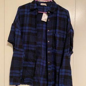 Lush Flannel Blue Plaid Button Down